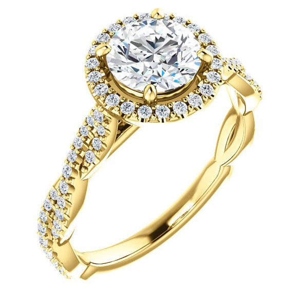 Mallory 14K Yellow Gold Round Diamond Halo Engagement Ring