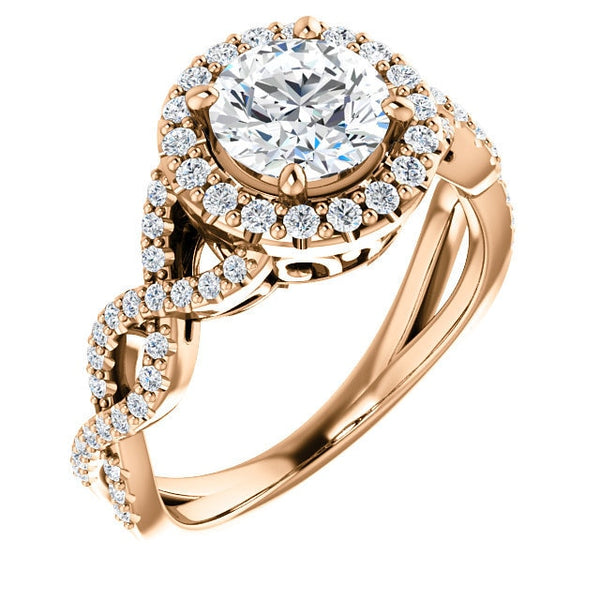 Gabriella 14K Rose Gold Round Diamond Infinity Halo Engagement Ring