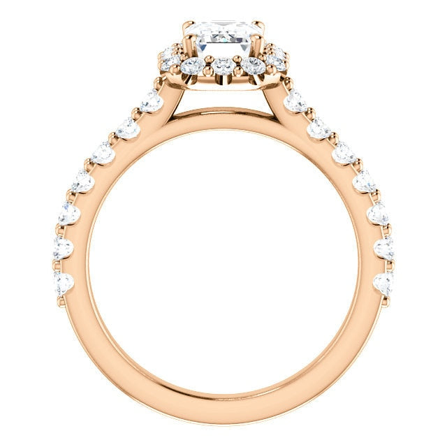 Harper 14K Rose Gold Emerald Diamond Halo Engagement Ring - Thomas Laine Jewelry