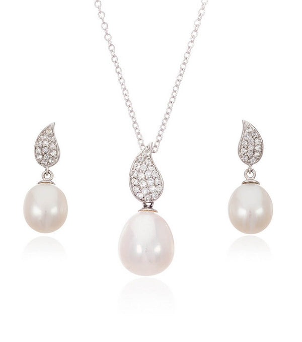 White Topaz Teardrop and Freshwater Pearl Set - Thomas Laine Jewelry