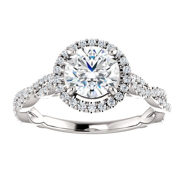 Mallory Platinum Round Diamond Halo Engagement Ring