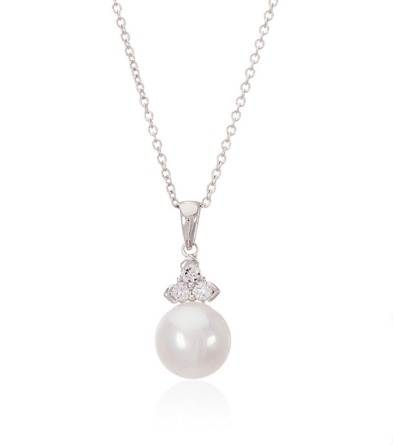 Sterling Silver Pearl and White Topaz Trinity Pendant  Thomas Laine Jewelry
