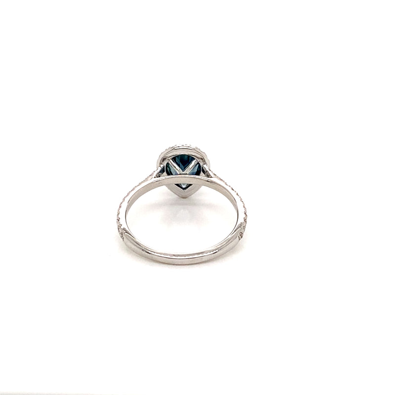 18K White Gold Diamond Halo Teardrop Montana Sapphire Ring - basket View