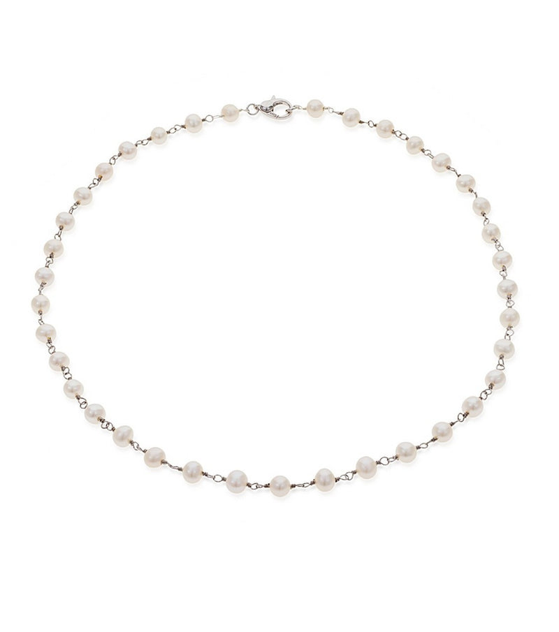 Medium Sterling Silver Freshwater Pearl Station Necklace
