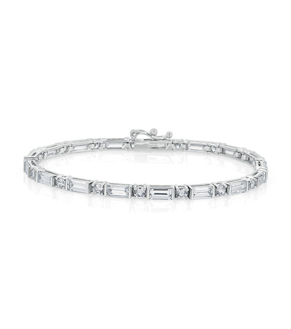 Karolyne Classic Baguette and Round Bracelet - Thomas Laine Jewelry
