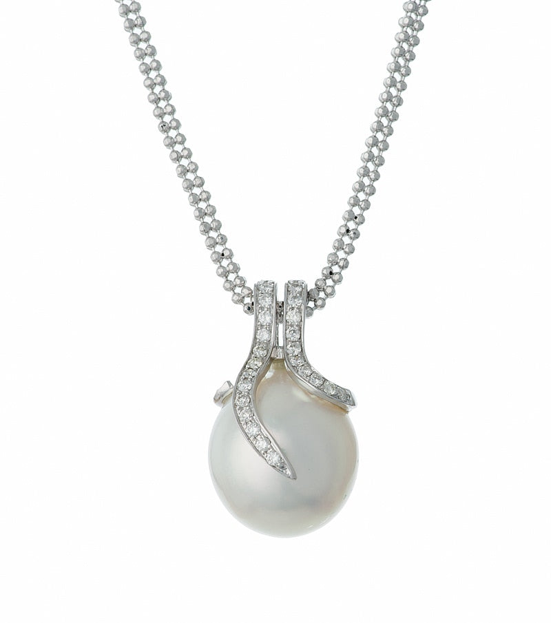 14K White Gold Oscar Collection South Sea  Pearl and Diamond Set - Pendant Detailed view