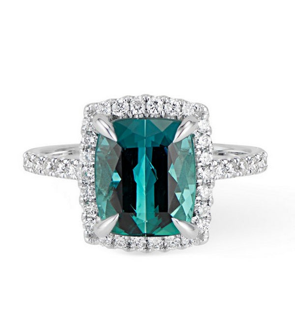 Green Tourmaline Diamond Halo Ring set in 14k White Gold $3995