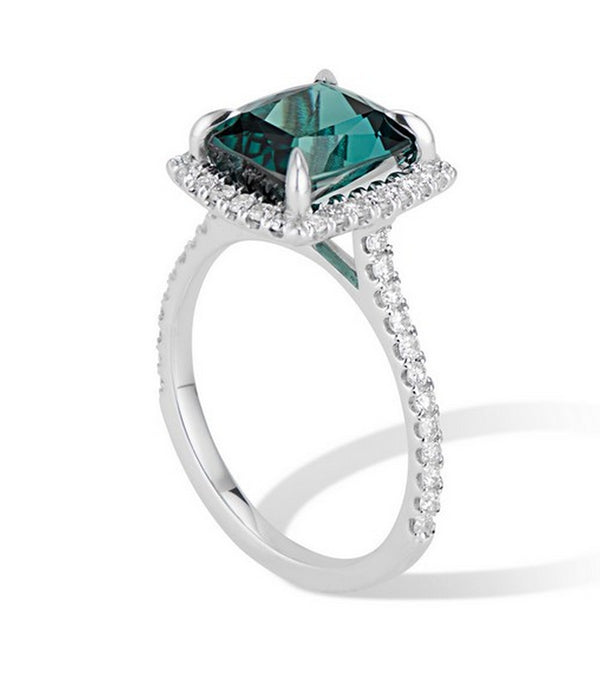 Alternative Engagement Ring 4.68 ct Green Tourmaline Diamond Halo Ring set in 14k White Gold