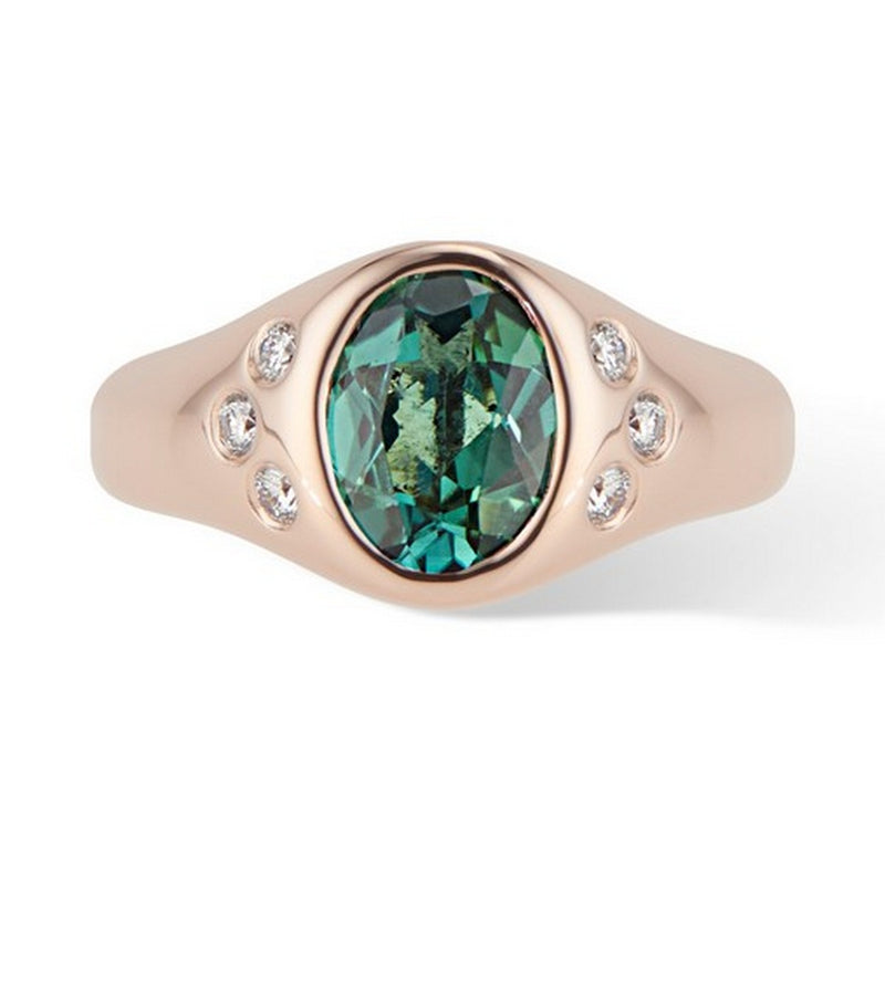 Rose Gold Green Tourmaline and Diamond Pinky Signet Ring - Thomas Laine Jewelry