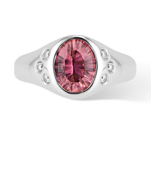 White Gold Pink Tourmaline and Diamond Pinky Signet Ring