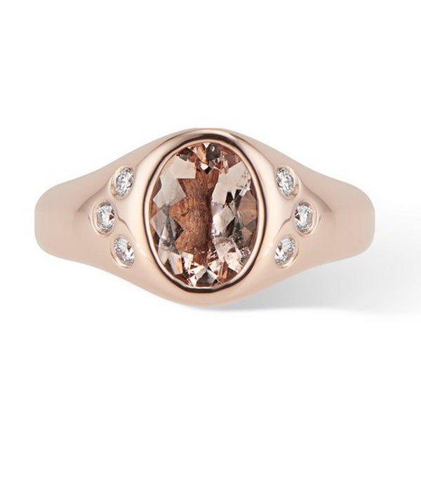 Rose Gold Morganite and Diamond Pinky Signet Ring - Thomas Laine Jewelry
