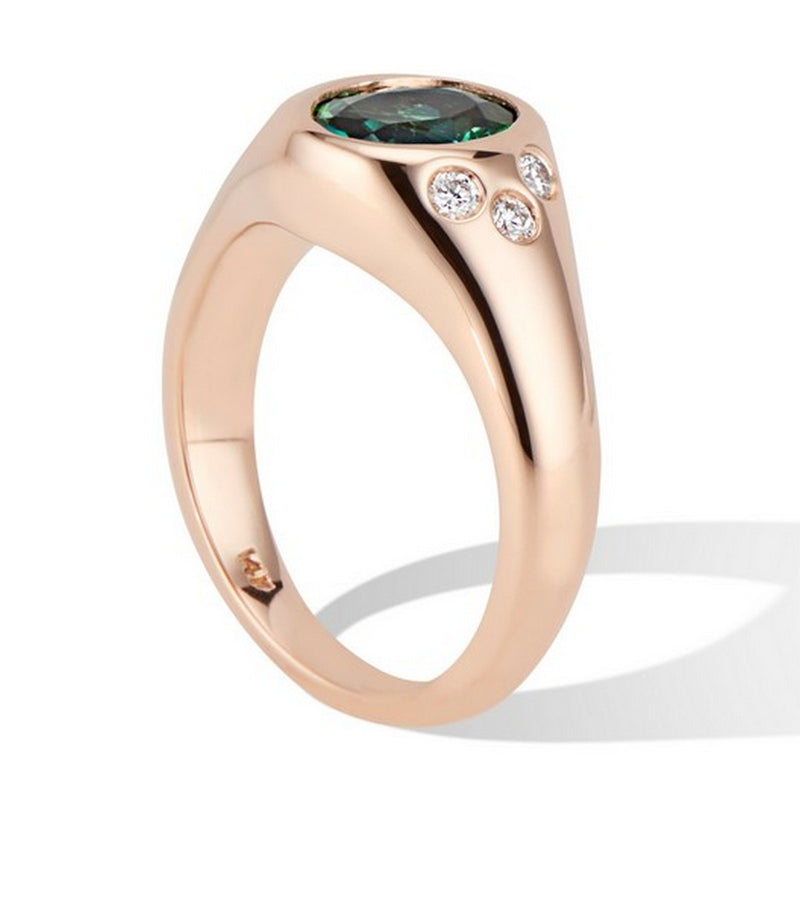 Rose Gold Green Tourmaline and Diamond Pinky Signet Ring