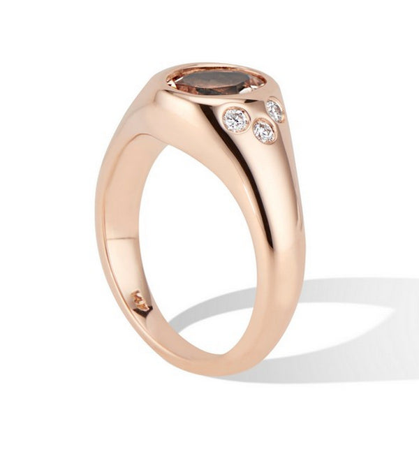 Rose Gold Signet Ring with Morganite and Diamonds