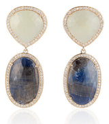 Blue Sapphire Slice and Diamond Pear and Oval Earrings - Thomas Laine Jewelry