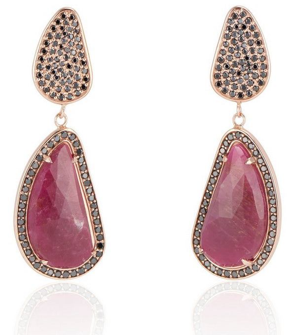 Opal and Ruby Gold and Diamond Drop Earrings