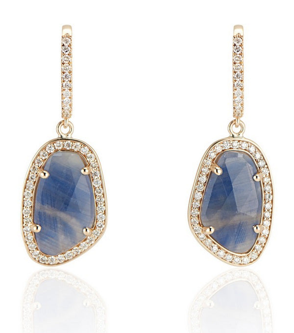 Sapphire Slice Diamond Lever Back Earrings