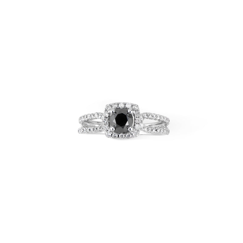 14k White Gold Black Diamond Engagement Ring - Thomas Laine Jewelry