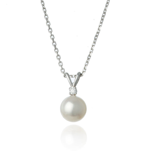 White Gold Diamond 8mm Pearl Pendant Necklace