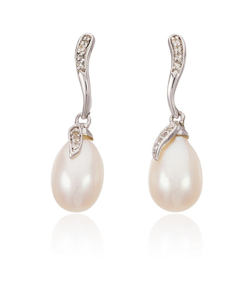 Sterling Silver White Topaz Freshwater Pearl Drop Earring  Thomas Laine Jewelry