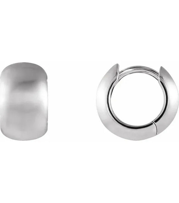 14K  White Gold 11.5 mm Huggie Earrings