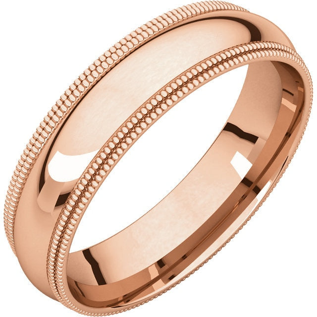 5mm Double Milgrain Comfort Fit Wedding Band