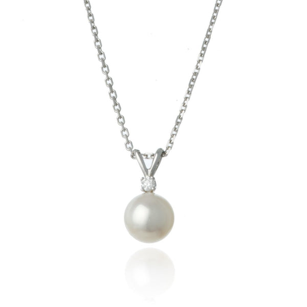 White Gold Diamond 7mm Pearl Pendant Necklace - Thomas Laine Jewelry