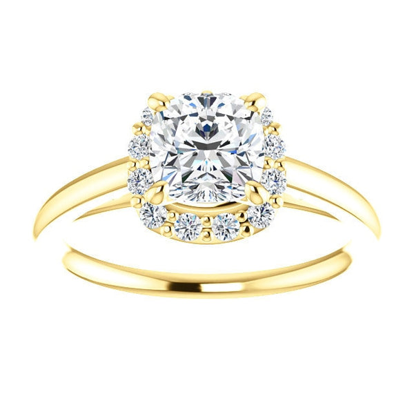Brooks 14K Yellow Gold Cushion Cut Diamond Halo Engagement Ring