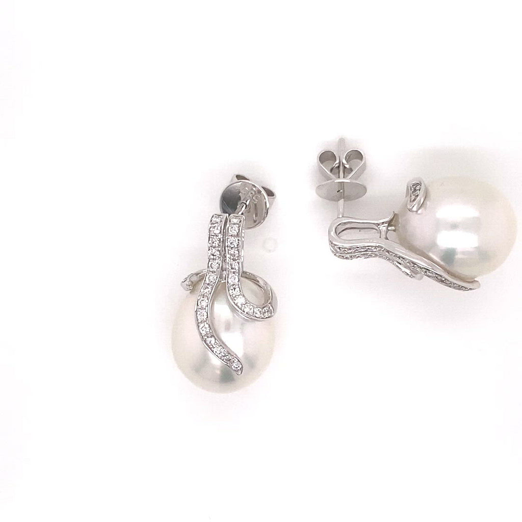 Video of Oscar Collection 12-14mm White South Sea Pearl Earrings