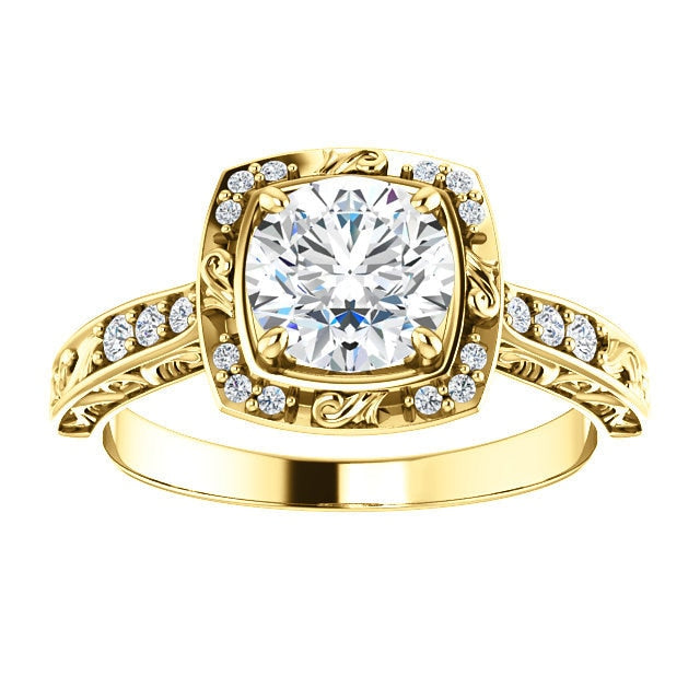 Harlow 14K Yellow Gold Round Diamond Sculptural Halo Engagement Ring