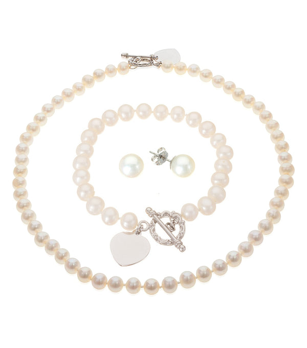 Freshwater Pearl Sterling Silver Heart Toggle Set