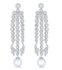 Grace Round Pearl Chandelier Earrings - Thomas Laine Jewelry