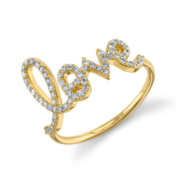 Yellow Gold and Diamond Large Love Ring