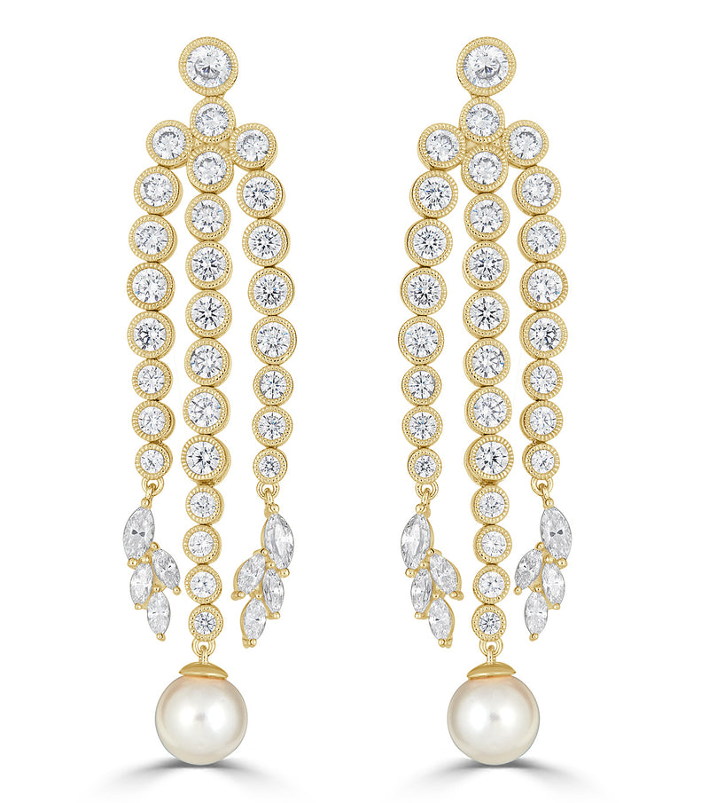 Grace Round Pearl Chandelier Earrings
