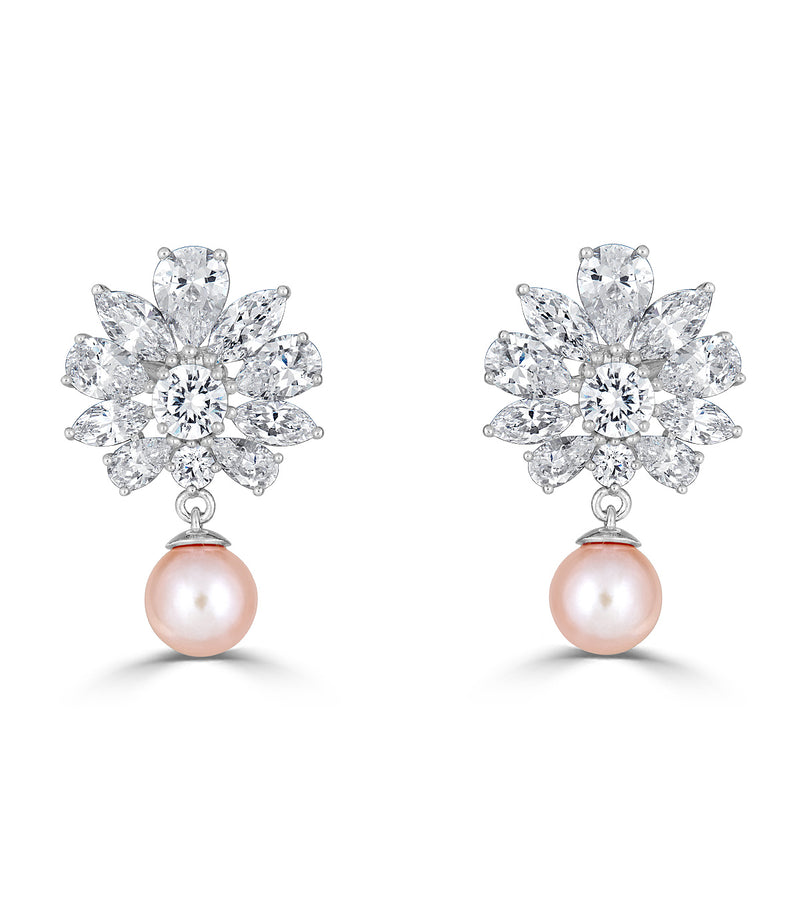 Grace Floral Freshwater Pearl Drop Earrings - Thomas Laine Jewelry