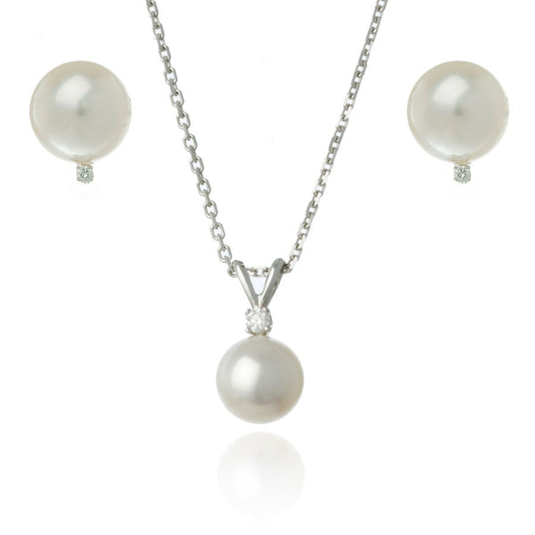 White Gold 7mm Freshwater Pearl and Diamond Set - Thomas Laine Jewelry