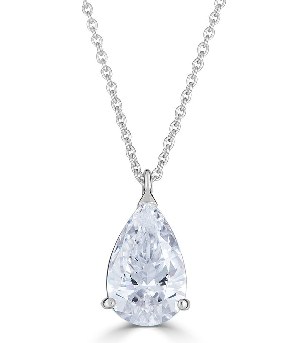 Liz Pear Pendant Necklace - Sterling Silver Cubic Zirconia