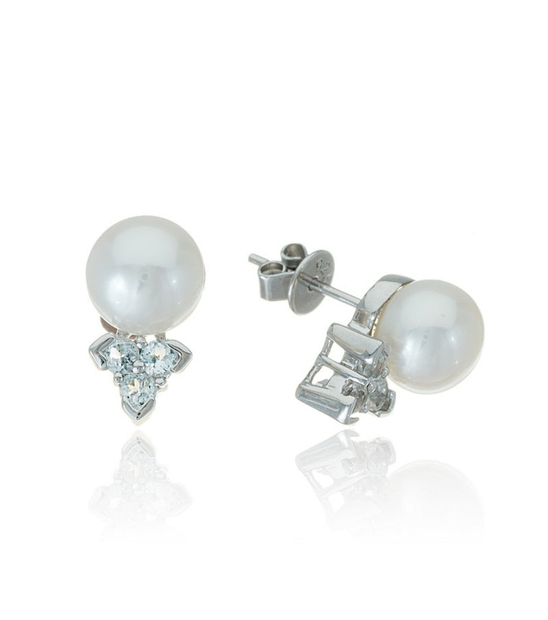 Sterling Silver Freshwater Pearl and White Topaz Trinity Earrings - Thomas Laine Jewelry