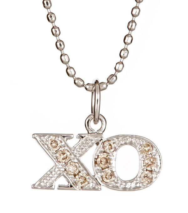 White Gold and Diamond XO Necklace - Thomas Laine Jewelry