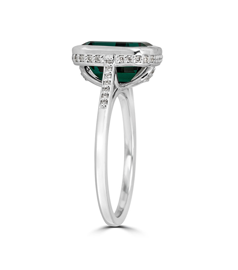 Green Tourmaline  & Pave Diamonds -14k White Gold