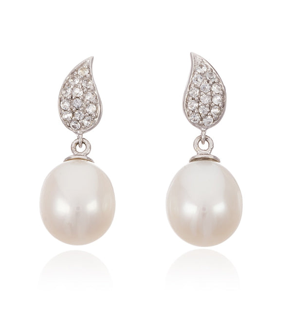 White Topaz Teardrop and Freshwater Pearl Set