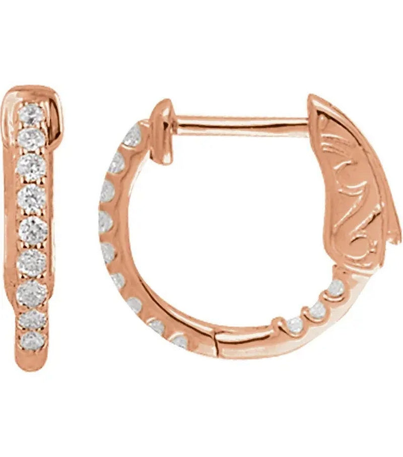 Gold 0.25 CTW Diamond Inside-Outside Hoop Earrings - Thomas Laine Jewelry