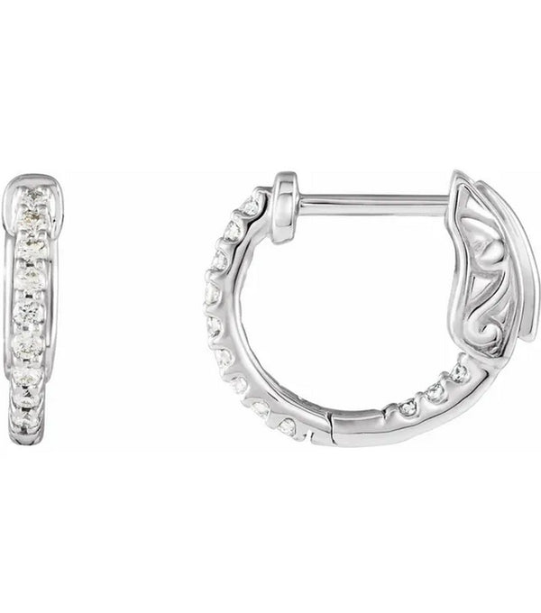 Small 14K White Gold 1/4 CTW Diamond Inside-Outside 14.5 mm Hoop Earrings
