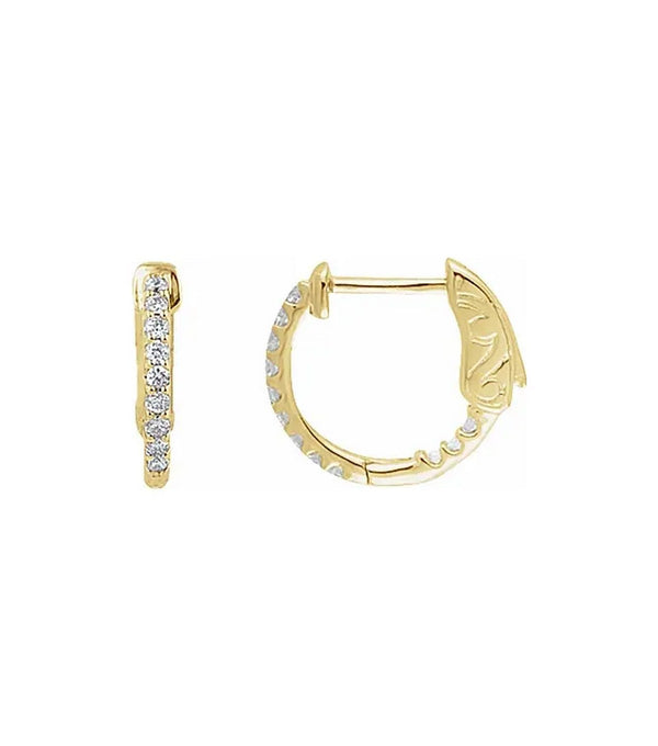 14K Gold 1/4 CTW Diamond Inside-Outside 14.5 mm Hoop Earrings