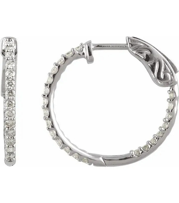 Gold 0.5 CTW Diamond Inside-Outside 19mm Hoop Earrings