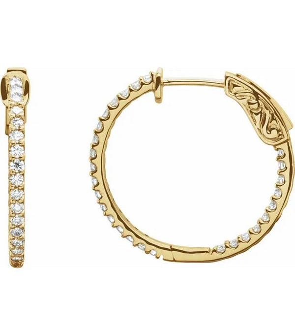 Gold 3/4 CTW Diamond Inside-Outside 23 mm Hoop Earrings