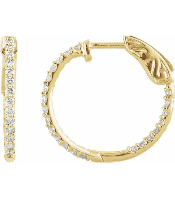 Gold 1 CTW Diamond Inside-Outside 26.5 mm Hoop Earrings