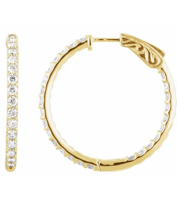 Gold 2 CTW Diamond Inside-Outside 29.5 mm Hoop Earrings