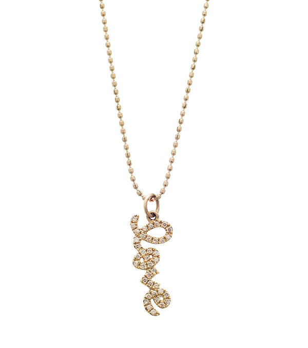 Small Gold and Diamond Love Pendant Necklace