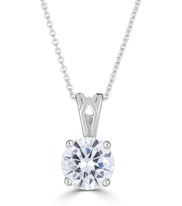 Liz Round 8MM Pendant Necklace - Sterling silver cubic zirconia