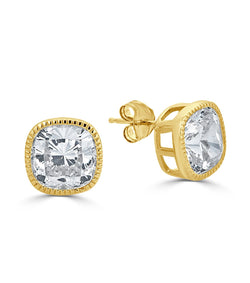 Gold Plated Lucille Cushion Cut Stud Earrings